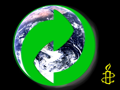 Weltkugel mit Recyclingsymbol